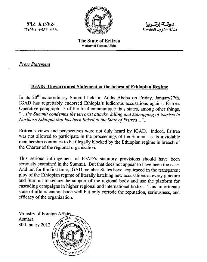 Dehai news mailing list archive dehai news mofa eritrea press eritrea mofa press release jan30 2012g thecheapjerseys Images